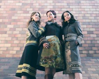 Wool skirt with vintage tapestry, womens skirt, winter fashion, designers clothing, midi skirt, shop the runway, Bartinki