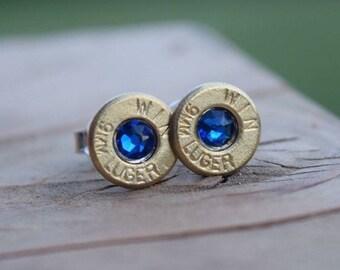 Brass Stud Bullet Earrings