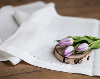 Chemin de table en lin pour la décoration de table de Pâques, nappe en lin naturel avec ajouré, chemin de table rustique, nappe rustique pour mariage