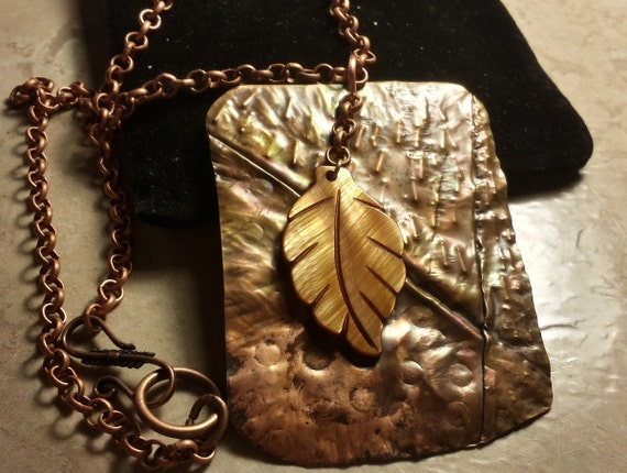 Organic Formfolded Copper Pendant With Mother of Pearl Leaf