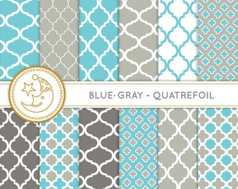 Quatrefoil Digital Paper: BLUE and GRAY quatrefoil paper pack. Printable pattern paper. Instant download paper.