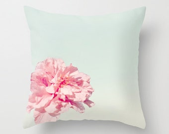 LAST MINUTE GIFTS! - Ready To Ship - Peony Pillow - Pink and Teal Pillow Cover - Flower Pillow - Teal Flower Pillow - Peony Print -