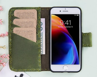 Green Leather iPhone X Case, iPhone X Leather Case, iPhone X Wallet, Leather iPhone X Wallet, iPhone X Leather Wallet, iPhone Leather Cases