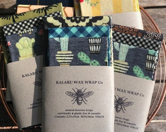 bees wraps|3 pack|plastic free| cling wrap alternative|