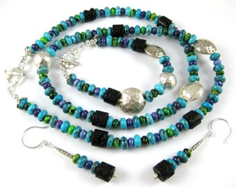 Harmony ... a spectacular three piece Signature Design featuring Kingman AZ turquoise and Hill Tribe Silver necklace bracelet and earrings