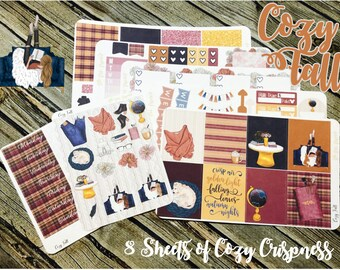 Cozy Fall Planner Stickers Kit - For use with Erin Condren - Happy Planner Stickers - Autumn Planner Kit
