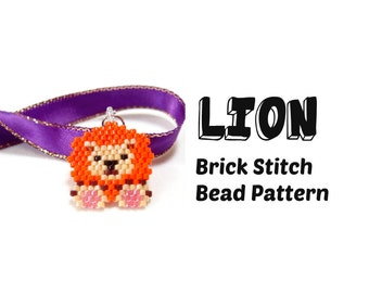 Lion Brick Stitch Delica Seed Bead Pattern, Beadwoven Jewelry Craft   DIGITAL DOWNLOAD