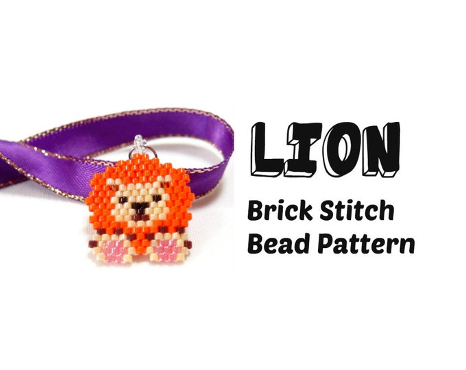 Lion Brick Stitch Delica Seed Bead Pattern, Beadwoven Jewelry Craft | DIGITAL DOWNLOAD
