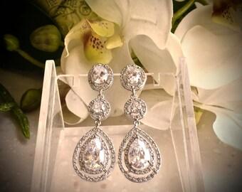 High quality three tier dangle/chandelier earrings. Very elegant. Stud earrings for pierced ears. Wedding earrings. Evening wear. 55mm.