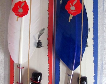 Goose feather and ink for ancient writing & calligraphy. Red or white