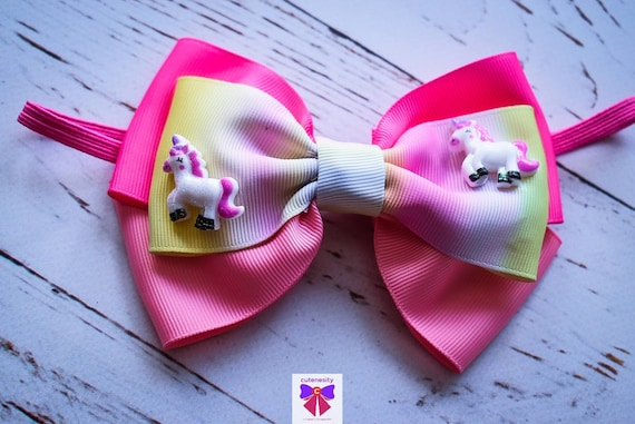 Ombre Pastel Unicorn Pink Grosgrain Bow - Baby / Toddler / Girls / Kids Headband / Hairband / Barrette / Hairclip / Birthday / Cakesmash