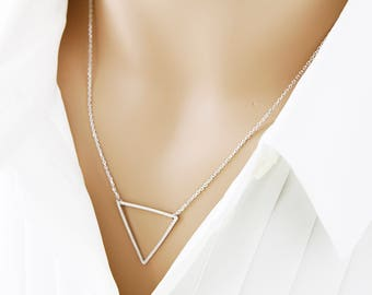 Simple and Dainty Open Triangle Necklace Simple and Modern Necklace Bridesmaid Gift Birthday Gift