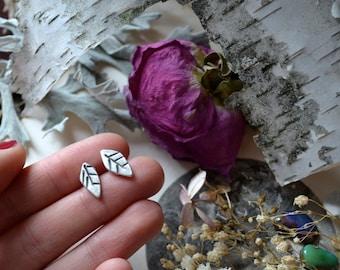 Little Leaf Silver Post Earrings