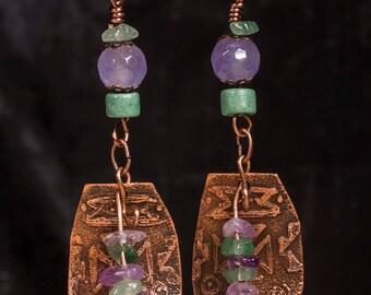 Etched Copper tribal shield earrings