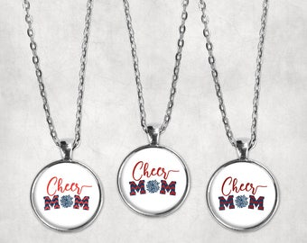 Cheer Mom Necklace Navy Blue and Red Cheer Mom Pom Pom Necklace Pendant, Glass Cabochon, Cheerleading Jewelry, School Spirit, Cardinal Red