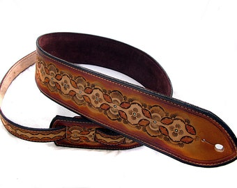 Handmade Leather Embossed Guitar Strap