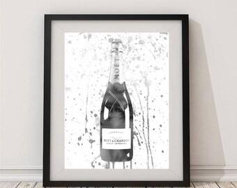 Gray, Champagne bottle, Champagne, Watercolor, Champagne art, Champagne wall art, Champagne print, gift for women, bar, Celebration, kitchen