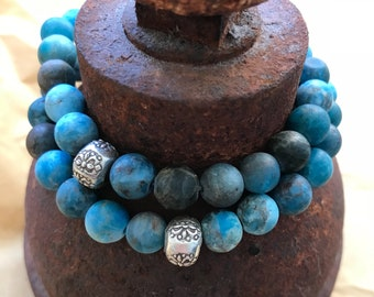 Matte Apatite and Sterling Silver Double Wrap Bracelet