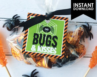 Bugs & Kisses Halloween Printable Favor Treat Gift Tag Instant Download (PDF File only)