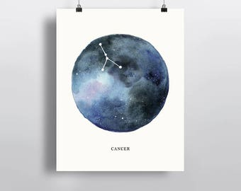 Cancer Constellation, Astrogical sign, watercolor art, Zodiac poster print, wall decor 5 x 7 in, 8 x 10 in, 11 x 14 in