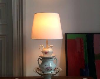 Lamp vintage porcelain table lamp, table lamp, lamp, lamp, tea pot teapot teacup