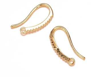 14k Gold Plated Micro Pave Cubic Zirconia Earring Hooks