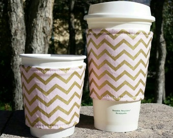 FREE SHIPPING UPGRADE with minimum -  Fabric coffee cozy / cup sleeve / coffee sleeve / cup cozy / Pink and gold chevron