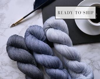Gradient yarn set, hand dyed lace yarn, tencel cashmere hand dyed yarn, handgefärbte wolle, handmade gift  -  Open Skies