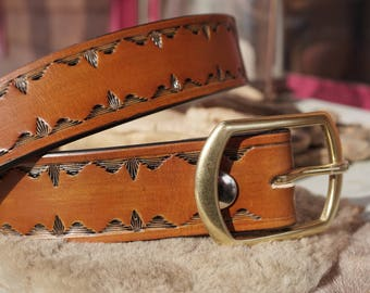 """1.5"""" Hand Tooled Leather Belt from American Hide, Saddle Tan Oil Dye, Solid Brass Buckle, Custom Fit Ukko Leather"""