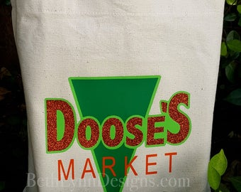 New with GLITTER! Doose's Inspired Canvas Shopping Bag