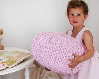 Small pink pouf ottoman } knitted pouf   knit pouf   nursery decor   knitted ottoman   nursery pouffe   kids pouffe   kids footstool
