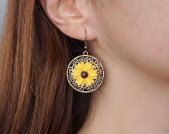 Sunflower Earrings Handmade Spring earrings boho Sunflower jewelry Flower dangle earrings Sunflower gift Yellow flower earrings for women
