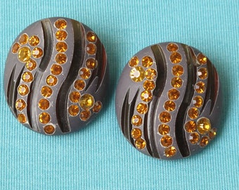 Earrings Carved Brown Painted Amber Rhinestone Set Large Vintage Lucite Button Clip On Style