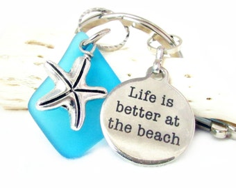 Starfish Keychain, Quote Keychain, Charm Keychain, Sea Glass Keychain, Car Accessories, Better at the Beach Keyring, KY38