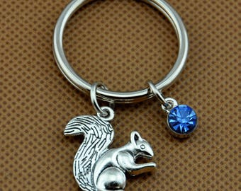 Squirrel Key Rings ,Squirrel Personalized Keychain with Birthstone Squirrel Keychain Squirrel Key Chains Custom Any Charm