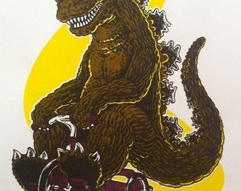 GODZILLA Riding a Tricycle - Poster - Kaiju, Monster, Japan, Monster Art, Godzilla Art - Screen Print, Art Print