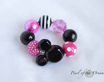 Minnie Mouse bracelet hot pink black Minnie Mouse chunky bracelet Minnie Mouse bubblegum bracelet baby toddler girl birthday smash cake ears