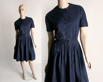 Vintage 1960s Lanz Dress - Navy Blue Cotton Gingham Day Dress - Small