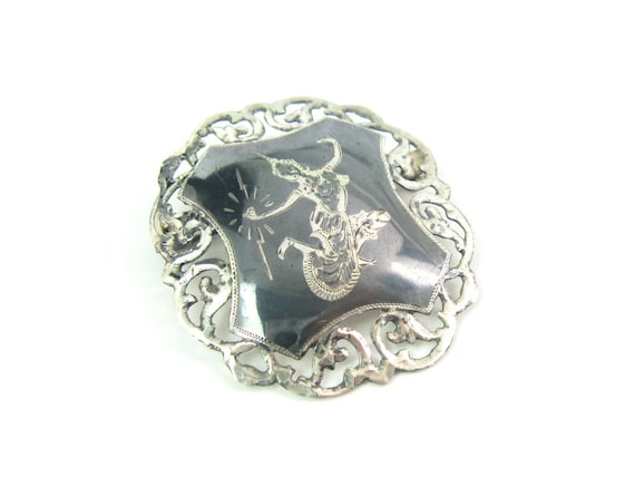 Vintage Siam Niello Sterling Silver Filigree Lightning Goddess Brooch