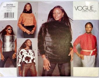 Vogue Basic Design 2470 Top Sewing Pattern Misses Size 8  10  12 UNCUT