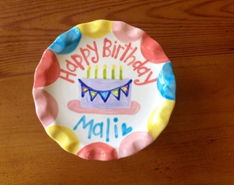 Cake Stand -- Personalized Birthday Bunting Smash Cake Stand . . . Ruffle Cupcake Stand for First Birthday Celebrations