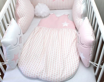 Swaddle baby, pink and white, with size options