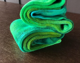 Tie Dye Thigh High Cotton Socks  - Green
