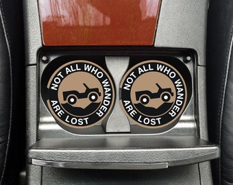 All Who Wander, Jeep Car Coaster, Car Cup Holder, Car Coasters, Auto Coasters, Auto Decor, Auto Accessories, Drink Holder, Cup Holder,