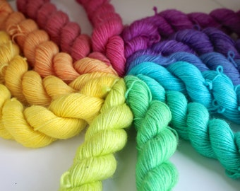 Sherbet Rainbow Mini Skein Set - BFL 4 Ply