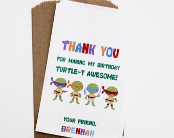 Ninja Turtles Birthday Favor Bags, Candy Buffet Bags, Treat Bags, Party Favor Bags, Candy Bar Bags