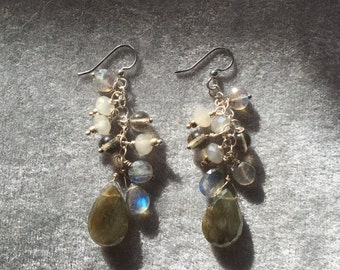 Labradorite drop earrings with sterling silver chain and crystals