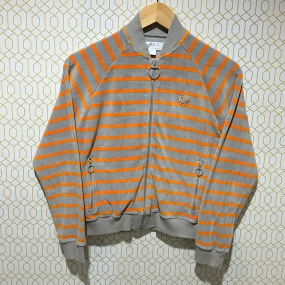 Vintage Fred Perry Jacket Made in Portugal Unisex Stripes Indie Mods Punk Zipper Sweatshirt Sweater Jacket EdwL7DLy