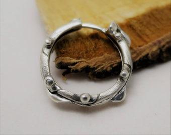 Single earring for men Bionica white - sterling silver - middle earring - men's earring