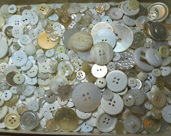 Bulk Lot, 500 Vintage, White, Translucent, Cream colored Buttons,  Lot W-1 (Free US Shipping)